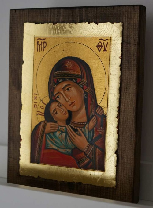 Theotokos Eleusa Rila small Hand Painted Orthodox Icon on Wood