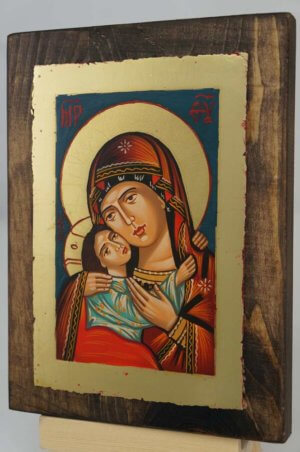 Theotokos Eleusa Rilska small Hand Painted Byzantine Orthodox Icon on Wood