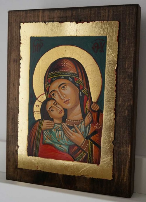 Theotokos Eleusa Rilska small Hand Painted Orthodox Icon on Wood