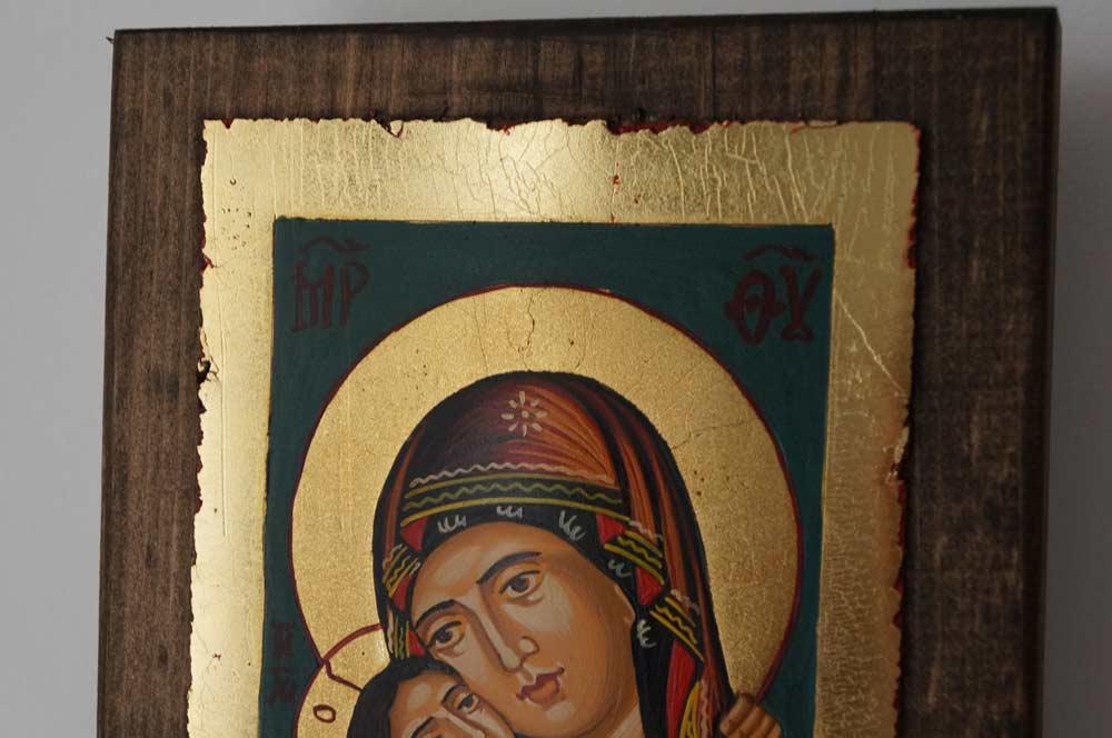 Theotokos Eleusa Rilska small Hand Painted Orthodox Icon on Wood