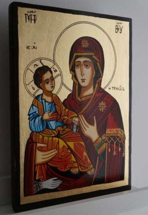 Virgin Mary Troeruchitsa Hand-Painted Orthodox Icon