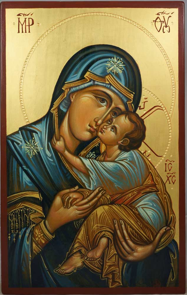Virgin Mary Sweet Loving (engraved halo) Hand-Painted Icon