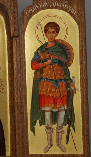 Hand-Painted Byzantine Triptych St Demetrius