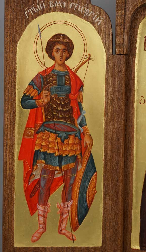 Hand-Painted Byzantine Triptych St George