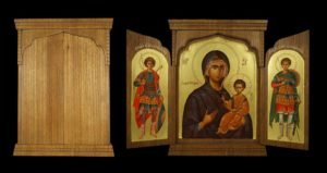 Hand-Painted Byzantine Triptych Theotokos the Guide St George St Demetrius