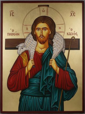 Hand-Painted Greek Orthodox Icon of Jesus The Good Shepherd