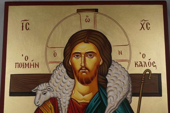 Hand-Painted Greek Orthodox Icon of Jesus The Good Shepherd