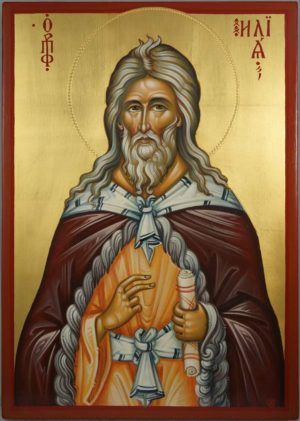 Prophet Elijah (engraved halo) Elias Hand-Painted Greek Orthodox Icon