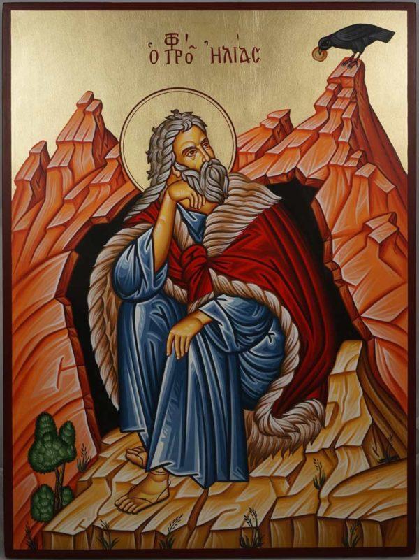 Prophet Elijah (Elias) in the Cave Hand-Painted Greek Icon
