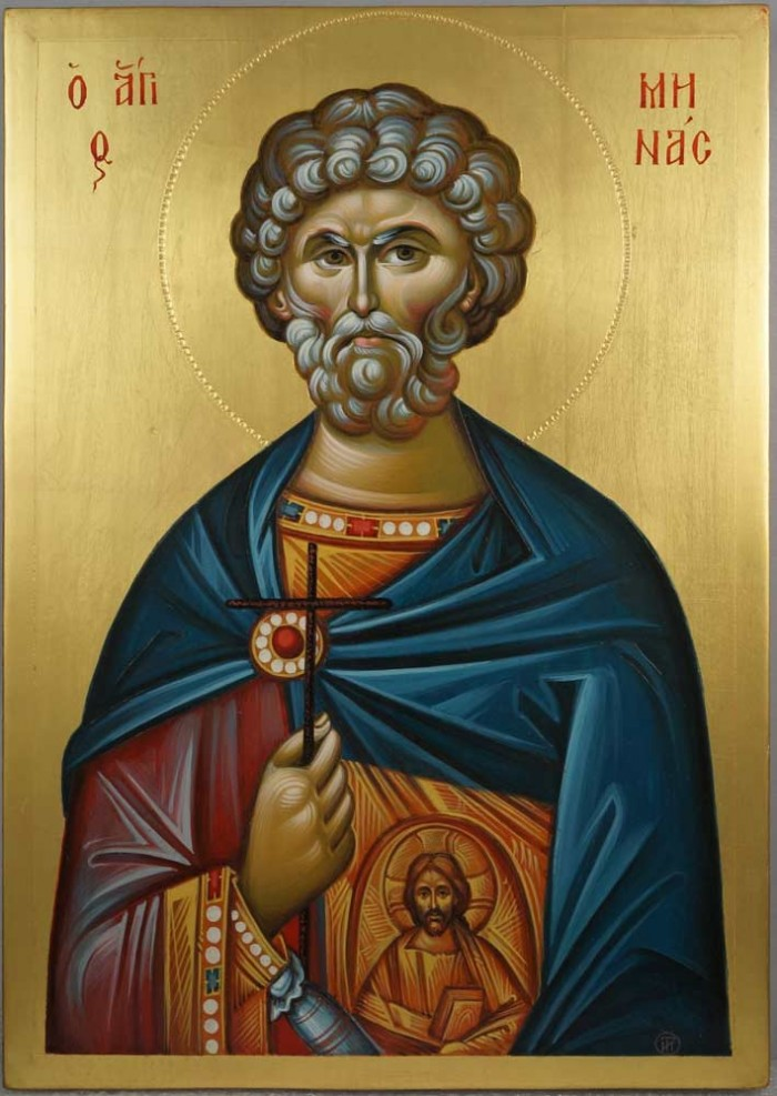St Saint Menas (engraved halo) Mena Minas Mennas Hand-Painted Icon
