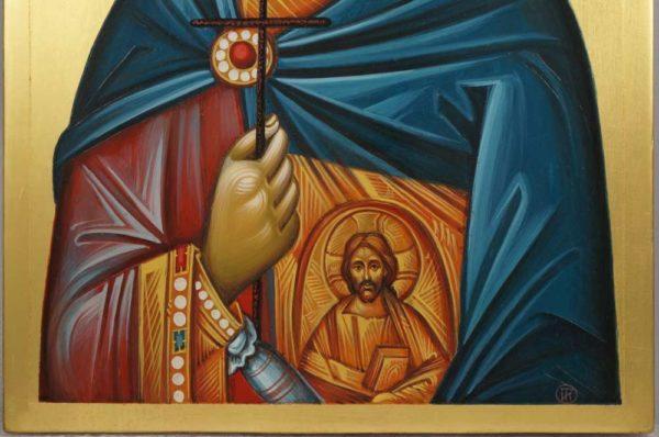 St Saint Menas (engraved halo) Mena Minas Mennas Hand-Painted Icon