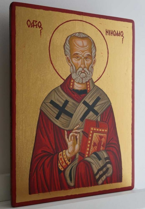 Saint St Nicholas of Myra Hand Painted Byzantine Icon