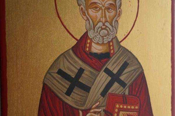 Saint St Nicholas of Myra Hand Painted Byzantine Icon
