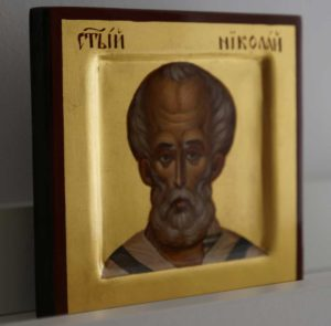 St Saint Nicholas of Myra Miniature Hand-Painted Byzantine Icon