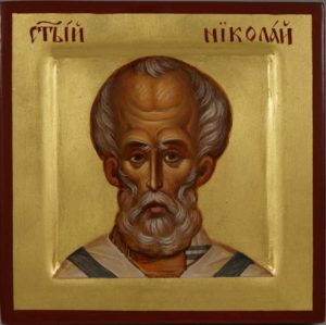 St Saint Nicholas of Myra Miniature Hand-Painted Byzantine Icon