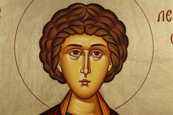 Saint Panteleimon Pantaleon Hand-Painted Byzantine Icon