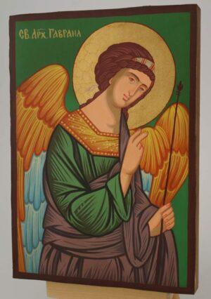 St Archangel Gabriel Icon small Hand Painted Byzantine Orthodox