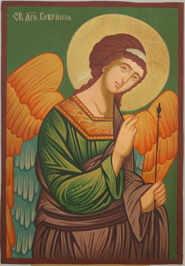 St Archangel Gabriel small Hand Painted Icon on Wood