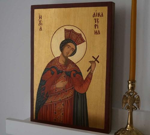 St Catherine of Alexandria small Hand Painted Orthodox Icon on Wood