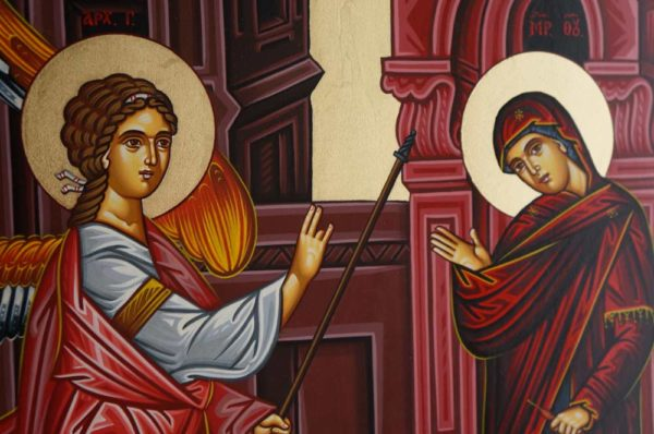 The Annunciation of the Theotokos Hand-Painted Byzantine Icon