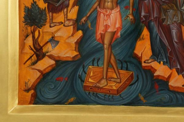 Theophany (Baptism of Christ) Hand-Painted Byzantine Orthodox Icon 23kt Gold Leaf
