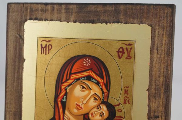 Theotokos Sweet Kissing small Hand Painted Icon Byzantine Orthodox