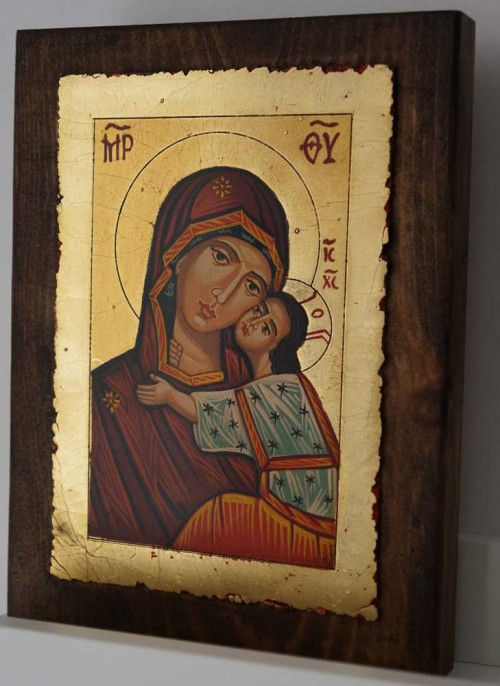 Theotokos Sweet Kissing small Hand Painted Orthodox Icon