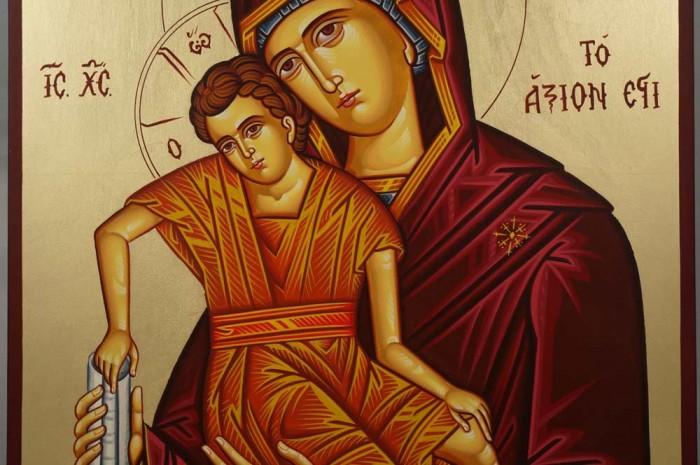 Theotokos Panagia Axion Estin (Dostoino Est) Hand-Painted Icon