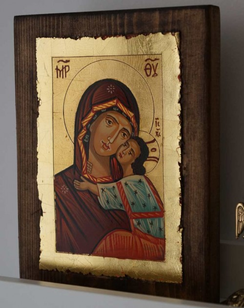 Theotokos Sweet Kissing Nesebar Hand-Painted Orthodox Icon