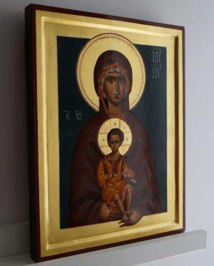 Madonna and Child (raised border) Theotokos Hand-Painted Byzantine Icon