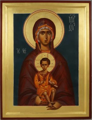 Madonna and Child (raised border) Theotokos Hand-Painted Byzantine Icon