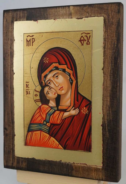 Vladimirskaya Mother of God small Hand Painted Icon Byzantine Orthodox