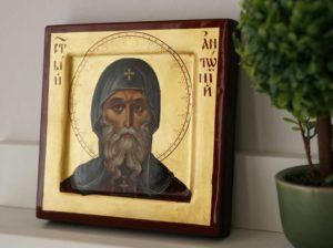 St Anthony the Great Miniature Hand-Painted Orthodox Icon