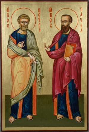 Holy Apostles Peter and Paul Hand-Painted Greek Icon