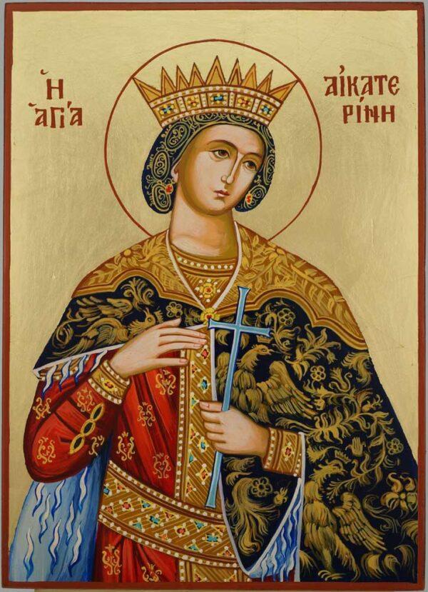 St Catherine of Alexandria Icon Hand Painted Byzantine Orthodox