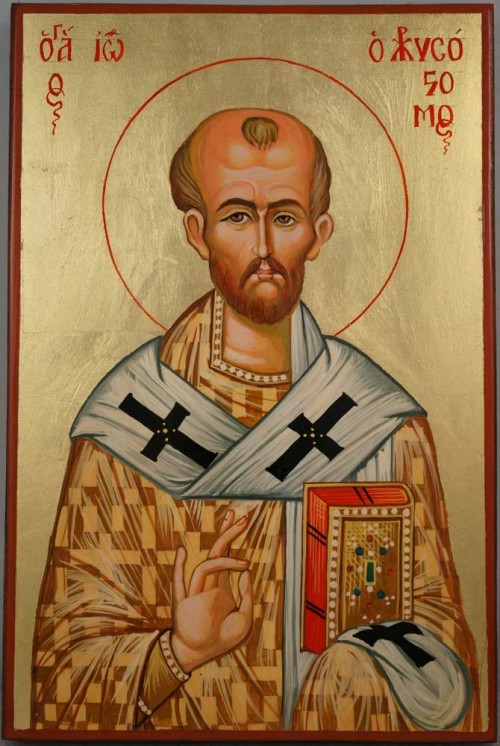 St John Chrysostom Hand Painted Byzantine Orthodox Icon