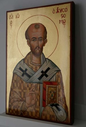 St John Chrysostom Hand Painted Byzantine Orthodox Icon