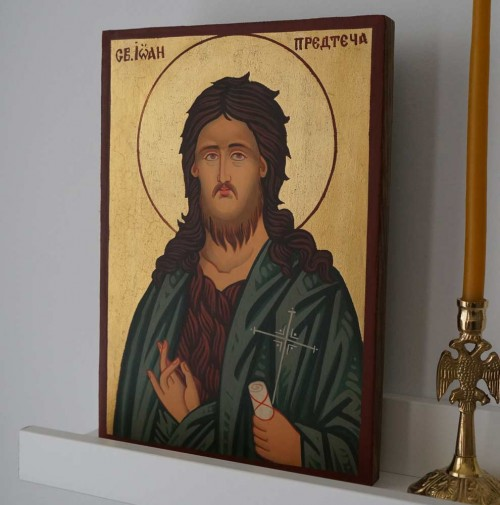 St John the Baptist small Hand Painted Byzantine Orthodox Icon on Wood