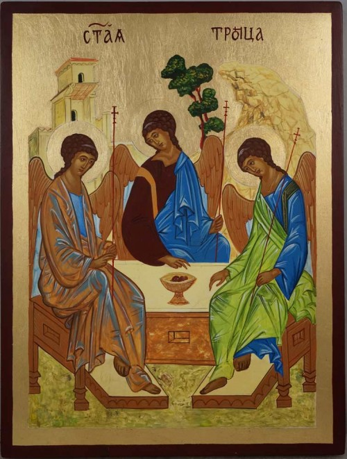 Holy Trinity Andrei Rublev Hospitality of Abraham Hand Painted Orthodox Icon