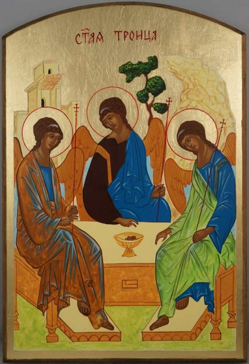 Hand-Painted Orthodox Icon of Hospitality of Abraham (Rublev Trinity)