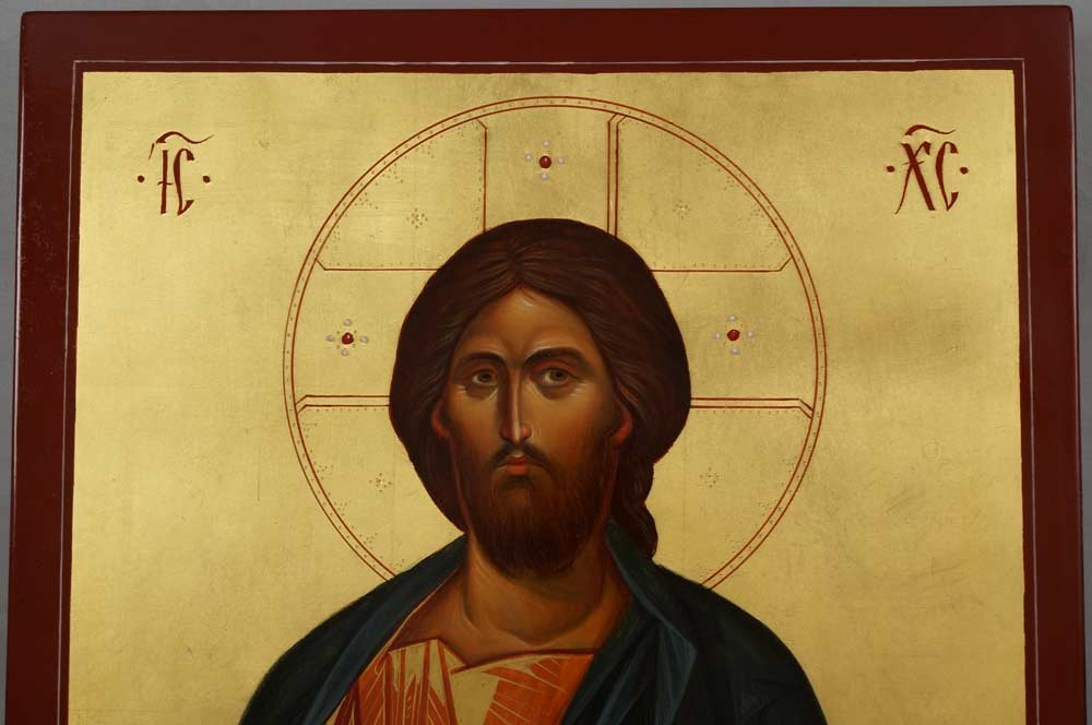 Jesus Christ Pantokrator (closed book) Hand-Painted Byzantine Icon