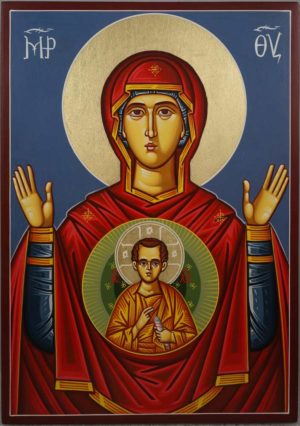 Theotokos of the Sign Znamenie Oranta Hand-Painted Icon