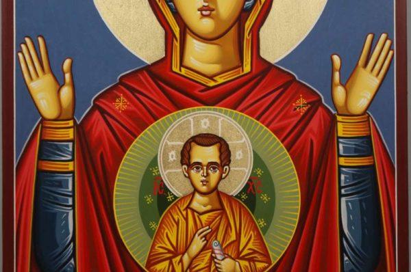 Theotokos of the Sign Znamenie Oranta Hand-Painted Icon