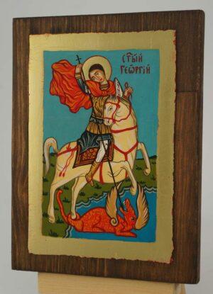 Saint George Icon small Hand Painted Byzantine Orthodox