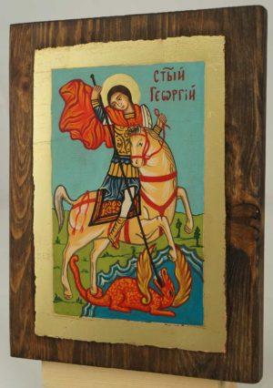 Saint George small Hand Painted Orthodox Icon on Wood