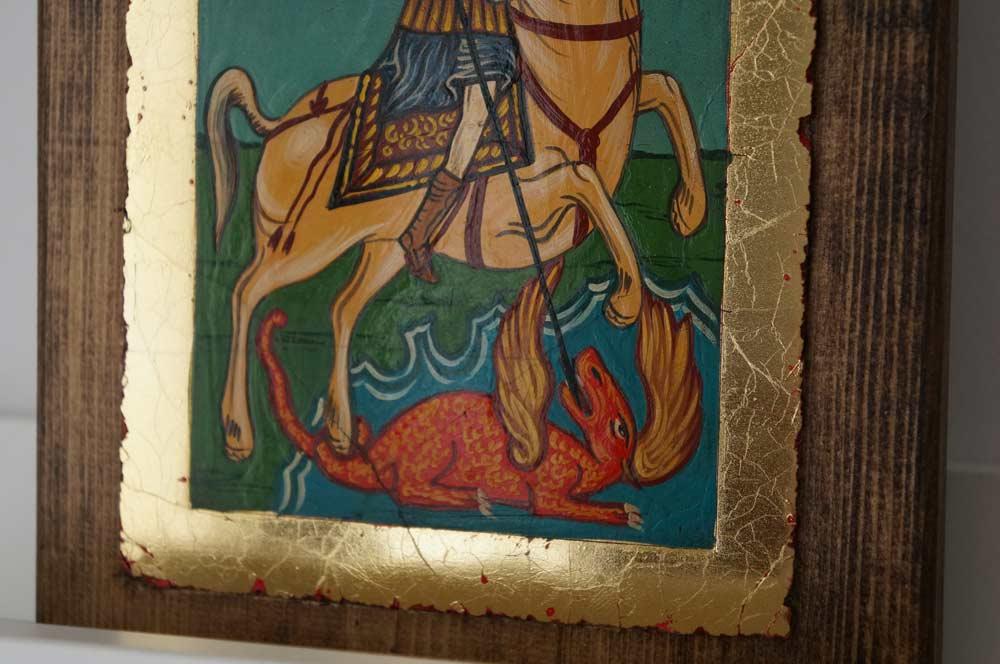 Saint George small Hand Painted Orthodox Icon on Wood