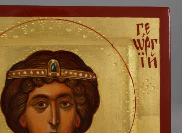 St George Wearing Diadem (miniature) Hand-Painted Byzantine Icon