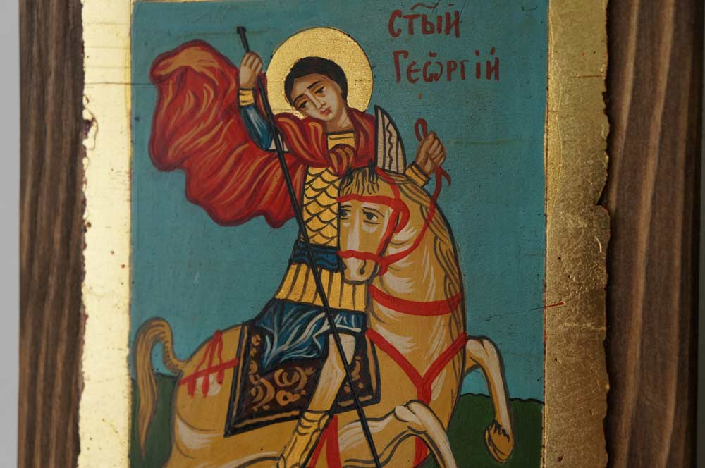 Saint George (small) Slaying the Dragon Hand-Painted Icon