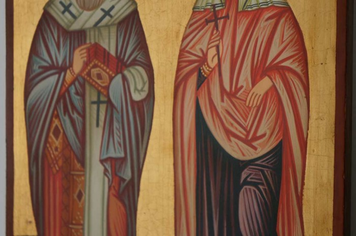 Hand-Painted Byzantine Icon of Sts Cyprian and Justina