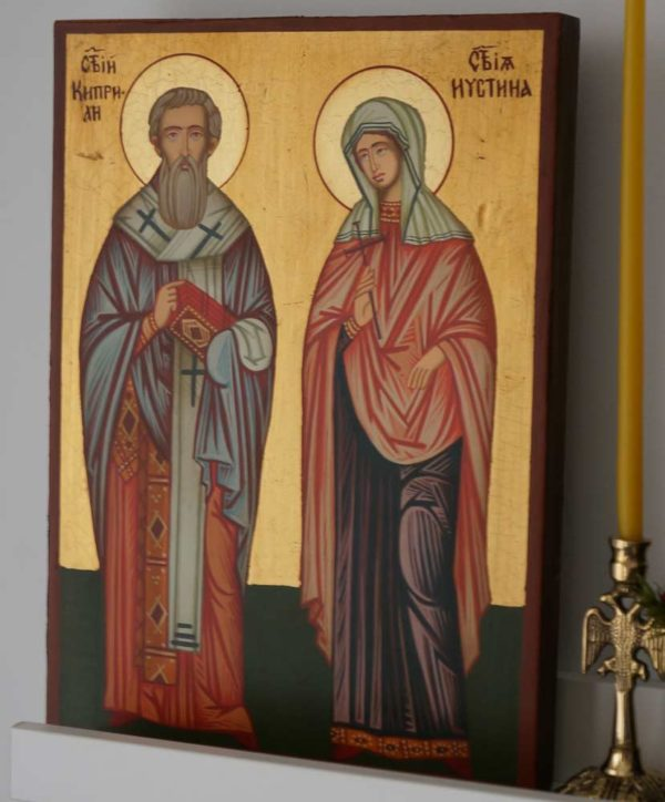 Sts Saint Cyprian and Justina Hand Painted Byzantine Orthodox Icon